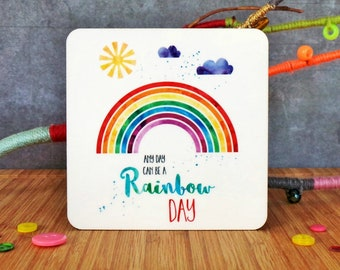 Rainbow Coaster, Colourful Coaster, Positive Coaster, Watercolour Coaster, Uplifting Gift, Gift For A Friend, Rainbows Gift, Cheerful Gift