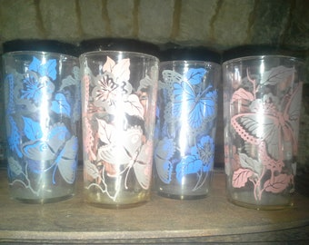Vintage Drinking Glasses- Butterflies in blue or pink