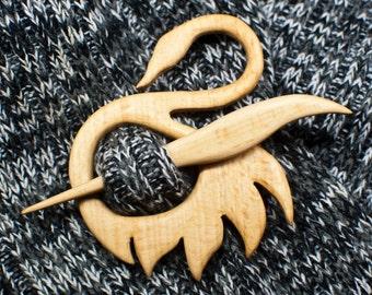 Handmade wooden shawl pin swan