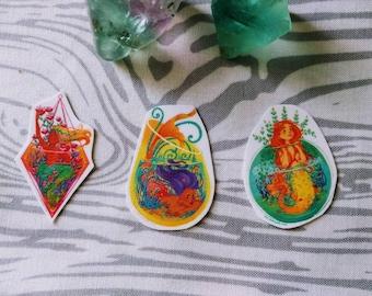 Tattletale Mermaid Aquarium Mini Temporary Tattoos Three Color Pack: Magenta, Yellow, and Green Mermies