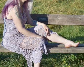 Lavender Lilac Crochet Cotton Dress Festival Handmade Bohemian Boho Hippy Gypsy