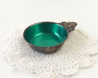 Silverplated Enamel Porringer Bowl, Vintage Wm A Rogers, Emerald Green