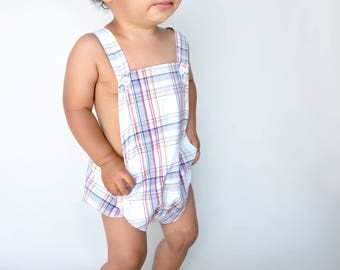 Toddler Boy Sunsuit | Red White and Blue Plaid Romper | Onepiece Baby Outfit | Heirloom Keepsake First Birthday Overalls