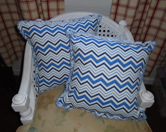 Blue and white chevron ragged Pillow covers Set of 2