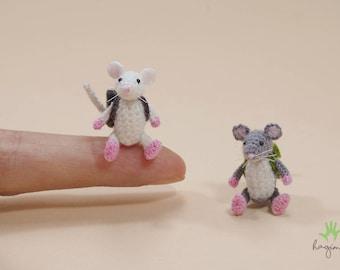 Tiny crochet mouse, miniature mice, amigurumi mouse