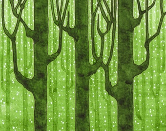 Forest, Trees, Green, Sap Green, Olive, Silhouette, Stars, Watercolor Print