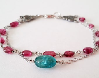 Pink Tourmaline and Fluorite Stone Bracelet with Silver Chain / Spring Summer Bracelet / Two Strings Bracelet