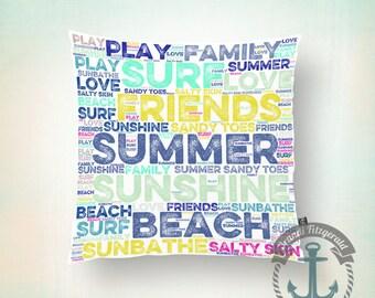 Throw Pillow | Summer Beach House | Nautical Typography Shore Decor  | Size and Price via Dropdown