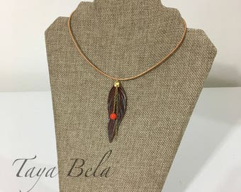 Bohemian Feather Necklace / Boho Leather Jewelry / Tribal Necklace / Leather Feather Pendant Necklace / Gift for Her
