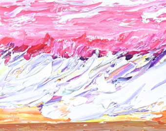 Waves Pink Sunrise Oil Impasto #18   Original-Monet-Impressionism-Absract-Gift-Home Decor-Wedding Gift-Anniversary Gift-Valentines Gift