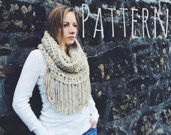 Fringe Cowl Pattern Crochet Cowl Pattern Chunky Cowl Pattern Crochet Scarf Pattern Fringe Scarf Pattern - the Northern - Pattern Only - pdf