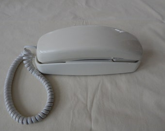 Vintage Original White Trimline Phone with Cord by AT & T