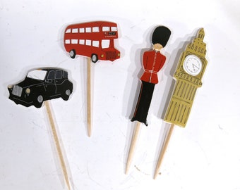 "24pc ""London"" tooth pick / cake topper (D62)"