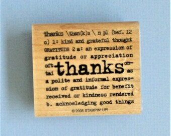 Greeting Card Making Stamp Papercraft Thank You Dictionary Definition Wood Mount Destash Stamping Scrapbooking Altered Book Arts Supply