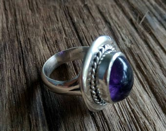 Handmade Sterling Silver and Amethyst Statement Ring - Boho Style Amethyst Ring - unique Sterling Amethyst Purple Ring - size 8.9