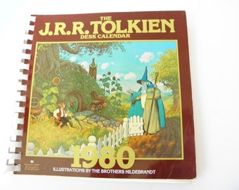 1980 JRR Tolkien Desk Calender Illustrations Brothers Hildebrandt 13 images inspired by the Lord of the Rings The Hobbit Never Used