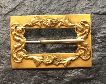 "Antique Edwardian Metal Belt Buckle Pin // 2 1/4 x 1 1/2"" for belt or ribbon > Art Nouveau"