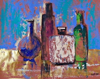 """Original painting Still Life with tequila bottles impressionistic art original painting acrylic on paper blue green black orange 19.5""""x25.5"""""""