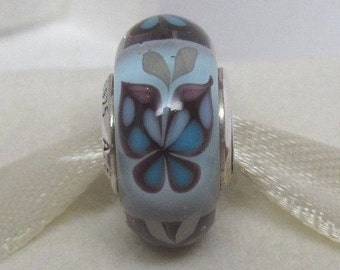 BUTTERFLY KISS BLUE Murano Glass Bead / New / Threaded / s925 Sterling Silver / Fully Stamped