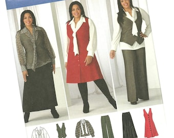 SIMPLICITY PATTERN 2566 sizes 10, 12, 14, 16, and 18  khaliah ali collection career wardrobe, blouse, scarf, vest, new and uncut