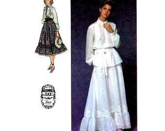 70s Vintage Simplicity 8907 Gunne Sax Jessica McClintock boho skirt blouse Prairie Revival sewing pattern Size 10