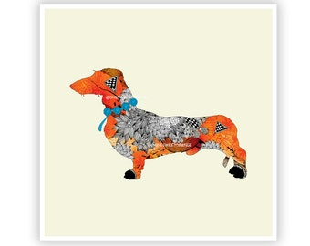Wiener Dog by Iveta Abolina -  Floral Illustration Print