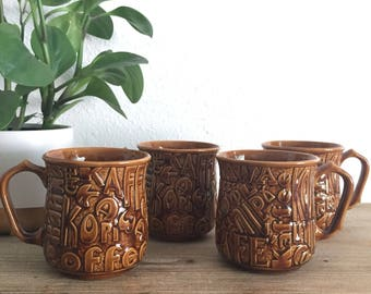 Set of 4 Mugs with Coffee in Different Languages