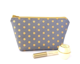 Metallic gold polka dot makeup bag Zipper pouch, Small cosmetic case, Travel gift for her birthday, Zipped, Fully lined, Handmade