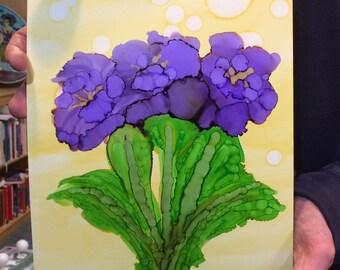 Purple Iris- alcohol ink on Yupo paper