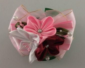 Kanzashi Hair Tie, Kanzashi Flower Hair Tie, Elastic Tie