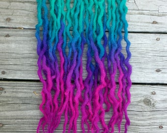 "Wool Dreads Dreadlocks Extensions Pink Blue Purple ""Degausser"" Choose Length and Amount"