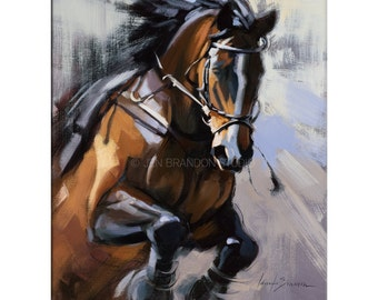Horse Art - Matted Print of Original Oil Painting - Horses, Equine, Equestrian, Animal Lovers, Water, Dramatic Art