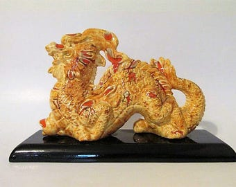 """Large 11"""" Long Mid Century Modern Style Dragon on Black Base Signed Dated 1978 1970s"""