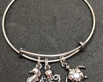 Sea Life Theme Bangle Bracelet Stainless Steel
