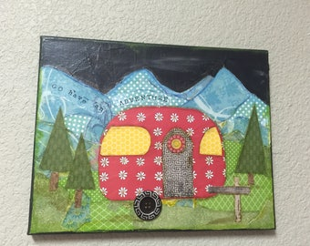 Original Mixed Media Collage Painting Camper Mountains Glamper Camping Scene
