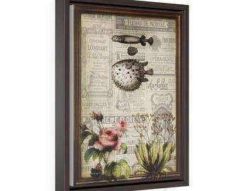 Flowerfish - Vertical Framed Premium Gallery Wrap Canvas