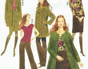 Womens Cardigan Style Coat, Top, Skirt & Pants OOP Butterick Sewing Pattern B5429 Size 16 18 20 22 Bust 38 40 42 44 UnCut Lifestyle Wardrobe