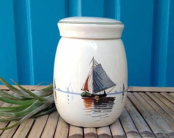 SALE-FREE SHIPPING-Vintage Pottery Dutch Ginger Jar w/Handpainted Sailboats and Dutch Woman & Girl-Kitchen Decor-French Cottage-Lidded Jar