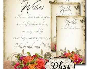 BLISS Set of Wedding Wish Sign and Tags, Wish Tree Cards, Wedding Wish Tags, Wish Tags, Bridal Shower, Wedding Shower, Boho Wedding