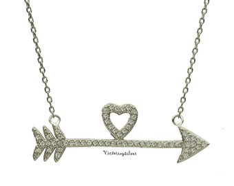Sterling Silver Heart And Arrow Necklace,Silver Spear Necklace,Silver Spike Necklace