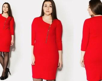 Rot Plus Größe Büro Kleid, Reißverschluss, Lagenlook Kleid, einfache Viskose Kleid, Knielanges Kleid, Ärmel 3/4, L versandkostenfrei