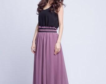 High Waist Wedding Skirt Chiffon Long Skirts Beautiful Elastic Waist Summer Skirt Floor Length Beach Skirt (201) 70#