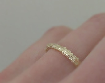 Twig Ring in 14k Yellow Gold, Pine Branch Stacking Ring, Recycled Gold