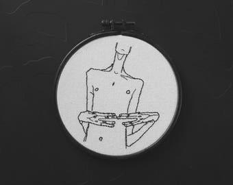 Mime van Osen, portrait of Erwin Orson - Egon Schiele - hand embroidery