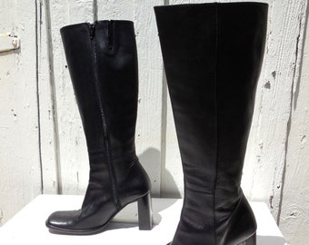 TALL Leather Boots/CHARLES DAVID/Black Leather Boots/Go Go Boots/Knee High Boots/Boho Chic Hippie Boots/Biker Boots/Riding Boots/Size 6.5 W