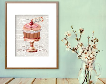 Cupcake, Vintage Cupcake, Cupcakes, Kitchen Art, Kitchen Prints, Kitchen Decor, Desserts, Dessert Art, Cupcake Prints, Sweets, Life is Sweet