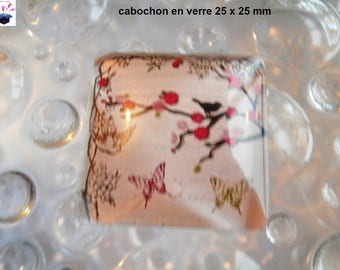 1 size 25mm x 25 mm square glass cabochon