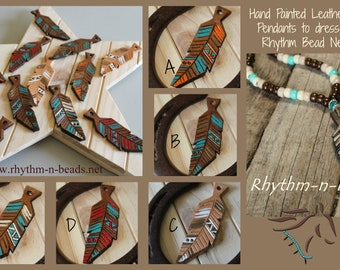 LEATHER FEATHER Pendants,  rhythm beads necklace, Rhythm Beads, Horse Lovers,  Rhythm Beads necklace, Rhythm Beads necklace pendants