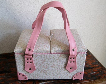 Light pink fabric liberty with faux leather handle, lined pattern in pink fabric sewing box