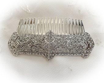 Beautiful vintage victorian art nouveau deco rhinestone crystal  bridal hair comb silver tone